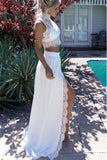 White Lace 2 Piece High Neck Slit New Prom Dress Evening Gowns LD136
