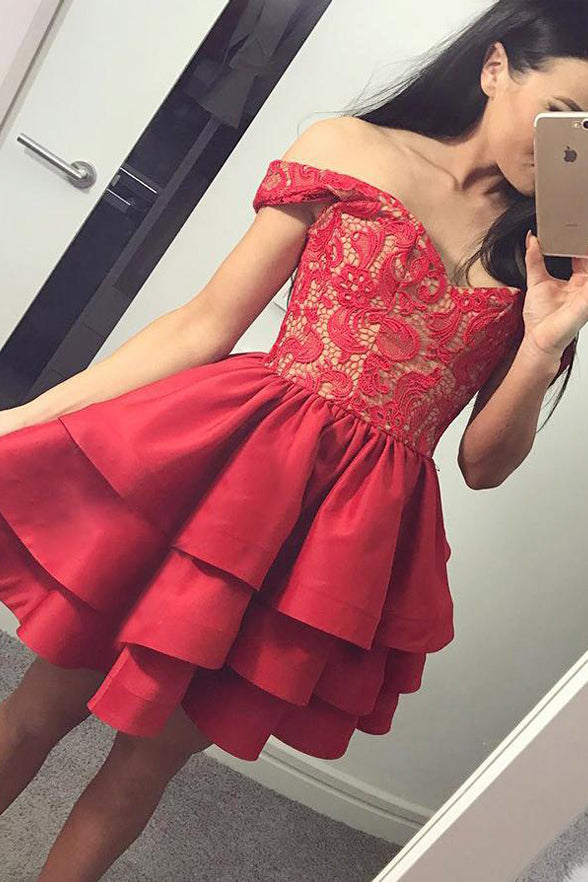 A Line Off the Shoulder Red Lace Tiered Skirt Short Prom Dresses Homecoming Dress for Party LD1370