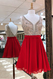 Fashion Deep V Neck Red Beaded Backless Homecoming Dresses Short Prom Graduation Dress LD1371