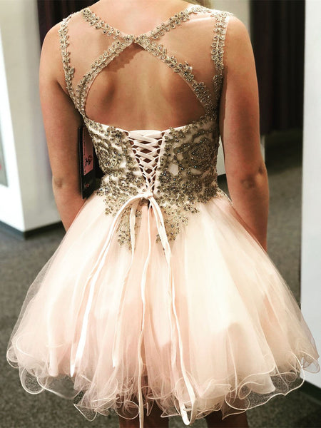 Charming Open Back Lace Appliques Pink Beaded Homecoming Dresses Short Prom Cute Dress LD1372
