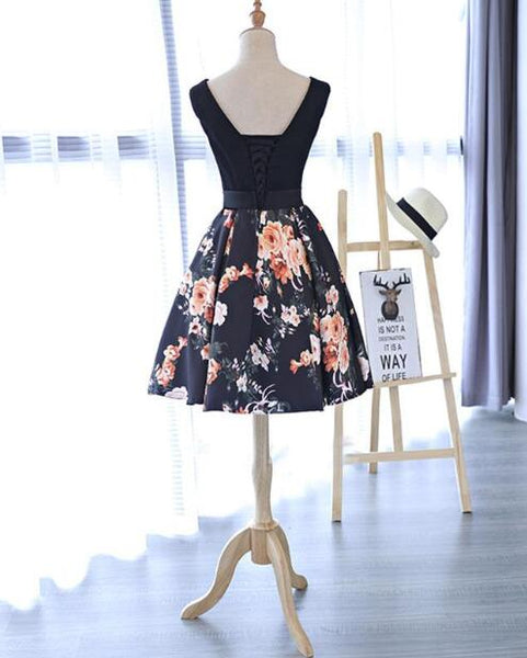 Chic A Line Black Printed V Neck Mini Length Prom Dress Homecoming Dresses For Party LD1374