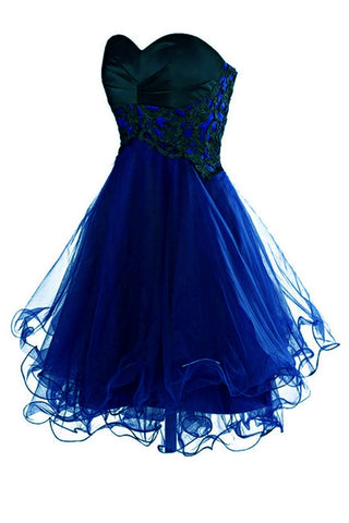Empire Waist Royal Blue Tulle Black Lace Appliques Short Prom Cute Dress Homecoming Dresses LD1376