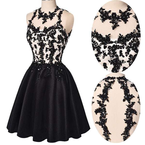 Chic Halter Open Back Lace Appliques Black Short Prom Cute Dress Homecoming Dresses For Party LD1379