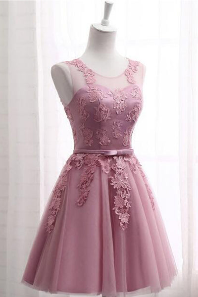 Blush Lace Appliques Open Back A Line Cheap Short Prom Cute Dress Homecoming Dresses LD1380