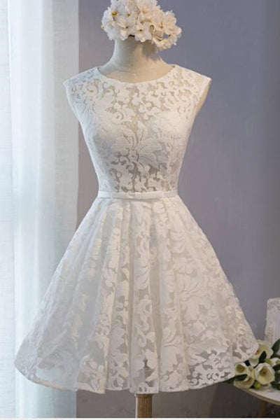 A Line White Lace Open Back See Through Short Prom Dress Homecoming Dresses For Party LD1381