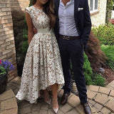 Cap Sleeves Ivory Lace High Low Beach Wedding Dresses Prom Homecoming Dress For Party LD1382