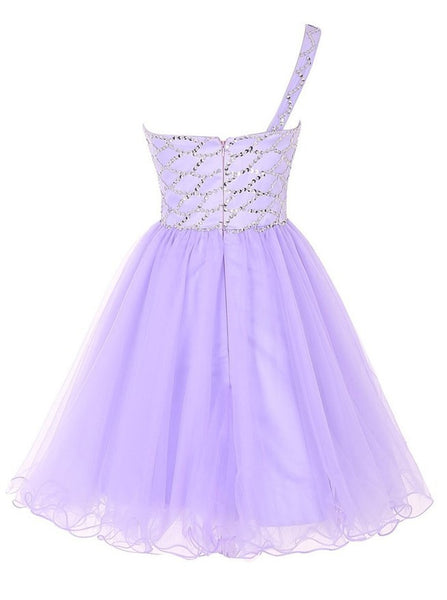 Fashion One Shoulder Violet Tulle Beaded Short Prom Dress Cute Homecoming Dresses For Party LD1384