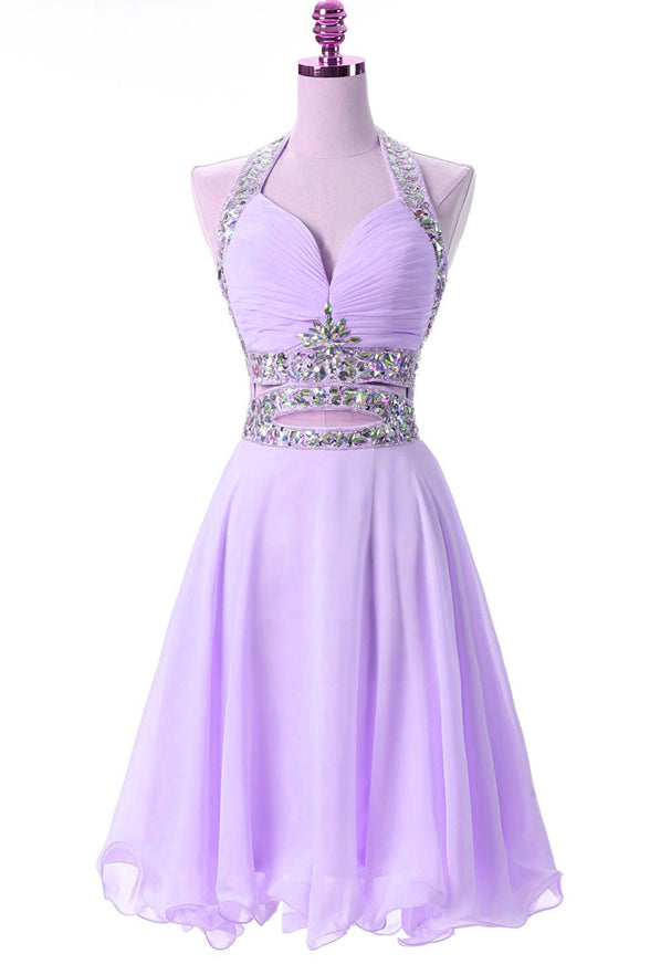 Backless Lilac Chiffon Off The Shoulder Beaded Short Prom Dress Homecoming Dresses For Party LD1385