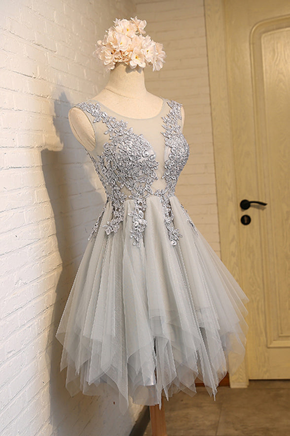 Charming See Through Grey Lace Appliques High Low Short Prom Cute Dress Homecoming Dresses LD1388