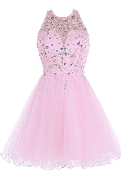Off the Shoulder Pink Tulle Cute Gowns Backless Beaded Short Prom Dress Homecoming Dresses LD1389