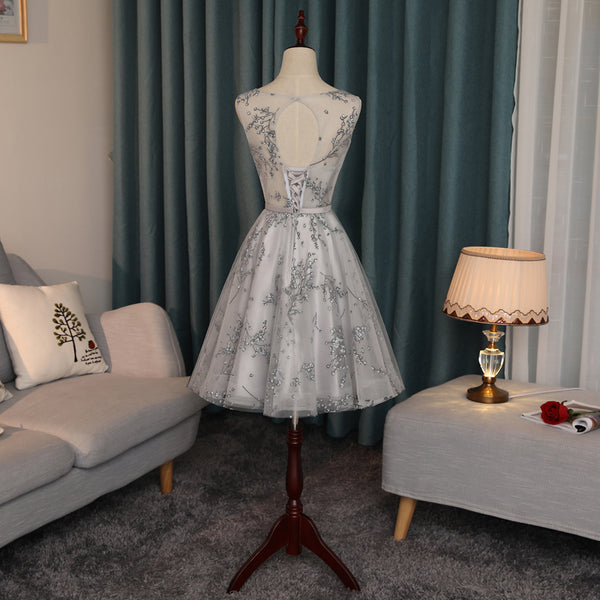 New Arrival A Line Grey Lace Knee Length Cheap Prom Dress Homecoming Dresses For Party LD1393