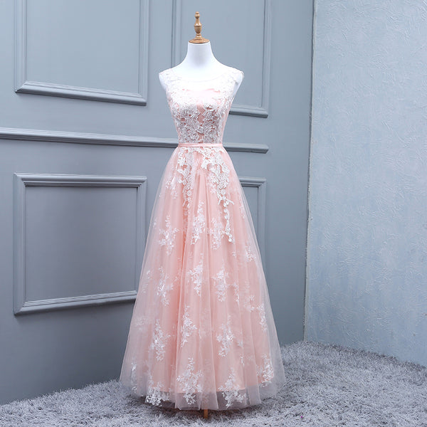 Fashion A Line White Lace Pink High Quality Long Prom Dresses Evening Graduation Dress Party LD1394