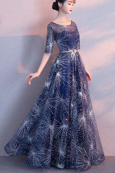 New Arrival Navy Blue Lace Half Sleeves Long Prom Dresses Evening Graduation Dress For Party LD1395
