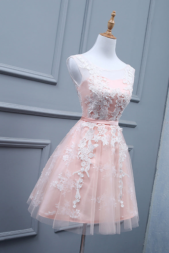 Ivory Lace Appliques Blush Pink Short Prom Homecoming Dresses LD1397