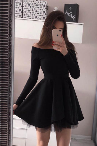 c596c6cdcb02 Simple Long Sleeves Black Off the Shoulder Mini Prom Homecoming Dresses  Graduation Dress LD1401