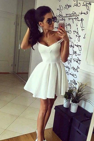 Charming A Line Straps Mini Length Ivory Prom Homecoming Dresses Graduation Dress For Party LD1402