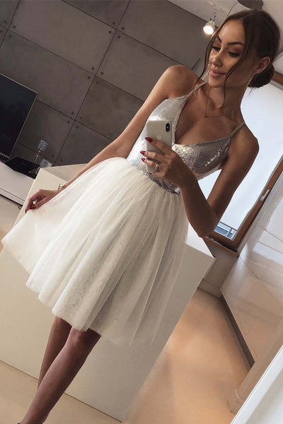 V Neck Spaghetti Straps Silver Sequin Ivory Tulle Homecoming Dresses Short Prom Hoco Dress LD1404