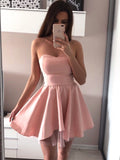 Fashion Strapless Pink High Low Prom Homecoming Dresses Short Graduation Dress Party LD1405