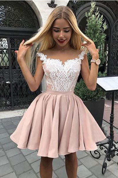 Chic A Line Off the Shoulder White Lace Appliques Homecoming Dresses Short Prom Hoco Dress LD1407