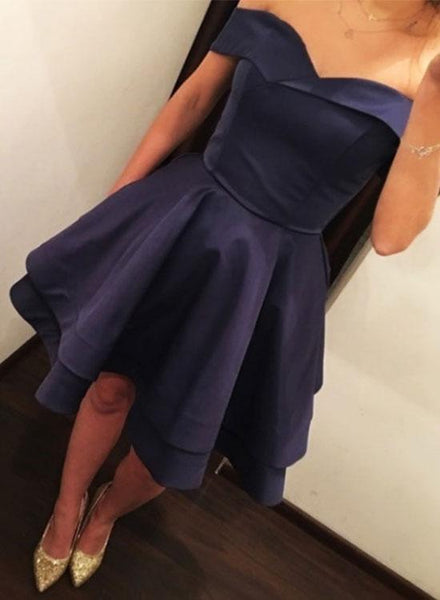 Charming Off the Shoulder Navy Blue Homecoming Dresses Short Prom Graduation Hoco Dress LD1408