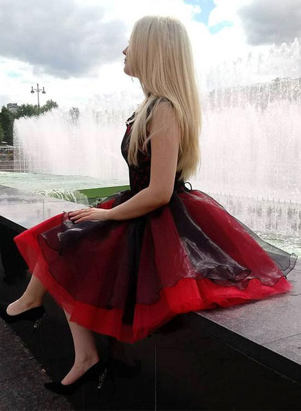 New Arrival Cap Sleeves Black Lace Red Short Prom Homecoming Dresses Graduation Dress Party LD1410