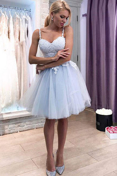 Chic White Lace Lilac Spaghetti Straps Knee Length Prom Homecoming Dresses Graduation Dress LD1411