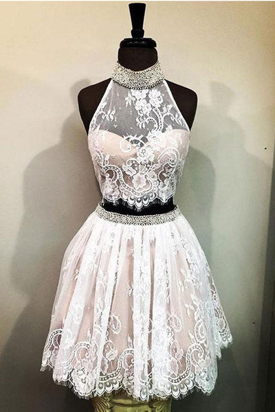 Two Pieces High Neck White Lace Pink Homecoming Dresses Short Prom Graduation Hoco Dress LD1412