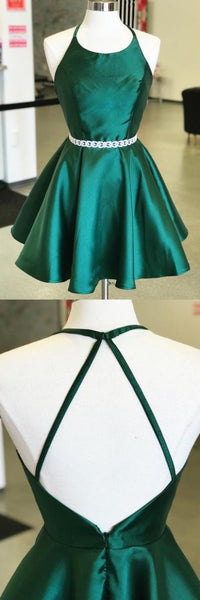 Simple Open Back Halter Green Satin Cute Homecoming Dresses Short Prom Hoco Dress LD1415