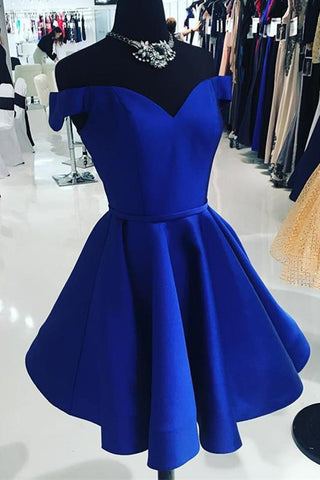 A Line Off the Shoulder Royal Blue Satin Cheap Simple Homecoming Dresses Short Prom Hoco Dress LD1418