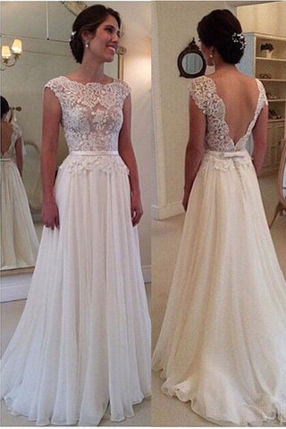 Lace Wedding Dress With Sleeves.Ivory Lace Chiffon Backless Cap Sleeves Beach Bridal Wedding Dress Ld141 Us0 Picture Color