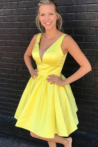 Elegant A Line V Neck Yellow Satin Short Prom Homecoming Dresses Hoco Dress Party LD1421