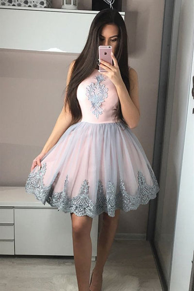 A Line Cute Dress Grey Lace Appliques Pink Short Prom Homecoming Dresses Hoco Gowns LD1422