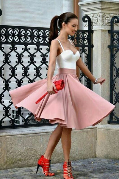 Charming A Line White Pink Knee Length Homecoming Dresses Cheap Prom Hoco Dress LD1426