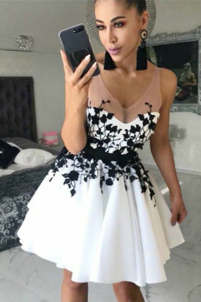 V Neck Off the Shoulder Black Lace White Satin Homecoming Dresses Short Prom Hoco Dress LD1428