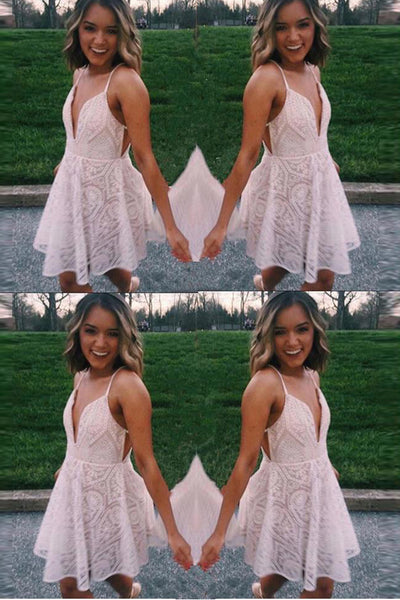 Deep V Neck Spaghetti Straps Ivory Lace Mini Homecoming Dresses Prom Graduation Dress LD1429