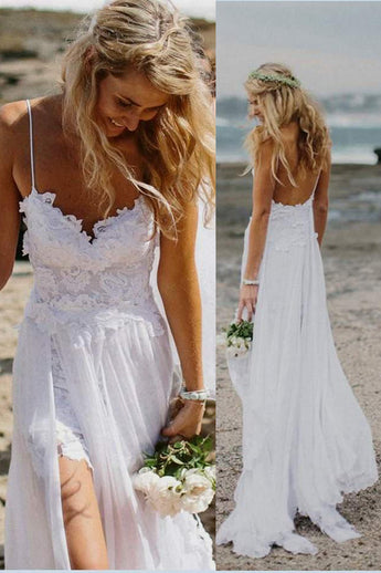 9e1fe0e763 White Lace Spaghetti Straps Slit Backless Beach Bridal Wedding Dress LD142