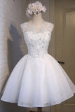 Cute Dress White Lace Appliques Homecoming Dresses Short Prom Hoco Graduation Gowns  LD1430