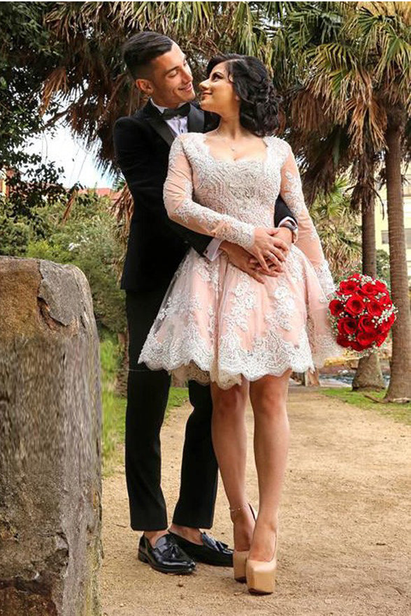 Ivory Lace Pink Long Sleeves Cute Homecoming Dresses Short Prom Hoco Graduation Dress LD1431