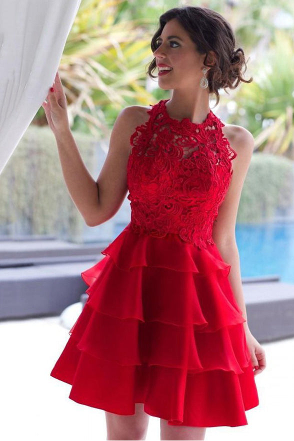 High Neck Red Lace Tiered Skirt Homecoming Dresses Short Prom Hoco Graduation Gowns  LD1432