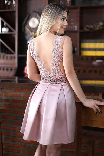 New Pink Lace Appliques See Through Homecoming Dresses Short Prom Hoco Graduation Dress LD1433