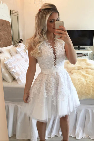 ce618c6cc447 White Lace Appliques Deep V Neck Beaded See Through Homecoming Dresses  Short Prom Hoco Dress LD1434