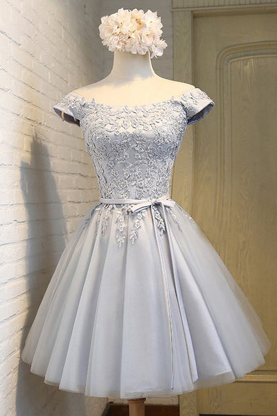 Short Sleeves Cute Dress Grey Lace Off the Shoulder Homecoming Dresses Short Prom Hoco Gown LD1435