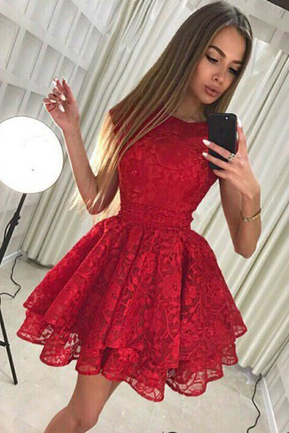 Chic Dark Red Lace Tiered Skirt A Line Simple Homecoming Dresses Short Prom Hoco Dress LD1436