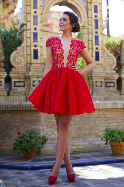 Cap Sleeves Deep V Neck Red Lace Mini Length Homecoming Dresses Prom Hoco Dress LD1437