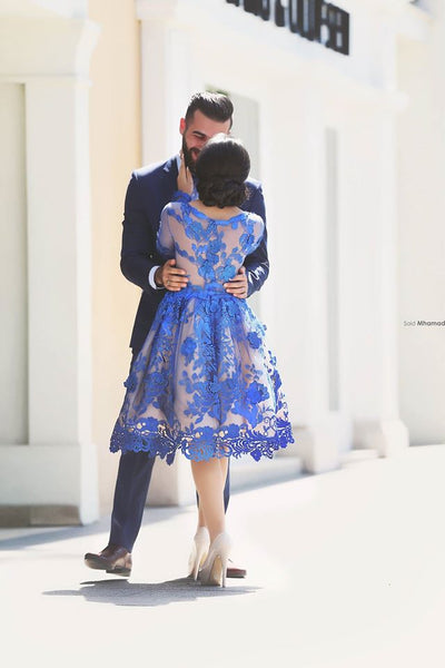 Fashion Royal Blue Lace Long Sleeves Knee Length Homecoming Dresses Prom Hoco Dress LD1438