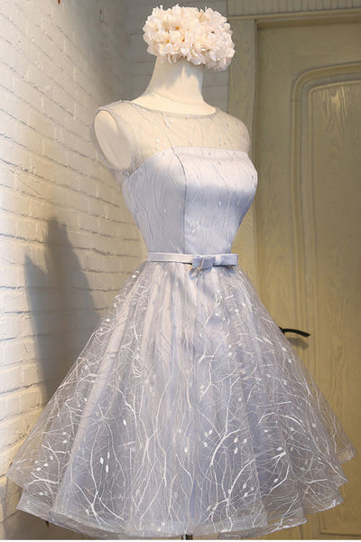 A Line Cute Dress Silver Lace Cheap Homecoming Dresses Short Prom Hoco Graduation Gowns  LD1440