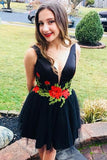 Deep V Neck Appliques Black A Line Short Homecoming Dresses Prom Graduation Dress LD1441