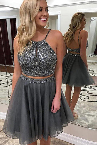 dab9cb1f604 Open Back 2 Piece Homecoming Dresses Short Beaded Grey Prom Hoco Dress –  Laurafashionshop