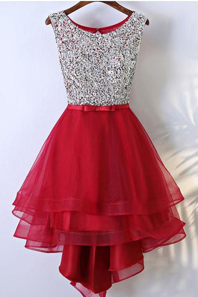 High Low Red Homecoming Dresses Silver Sequin Front Short Long Back Prom Hoco Dress LD1449