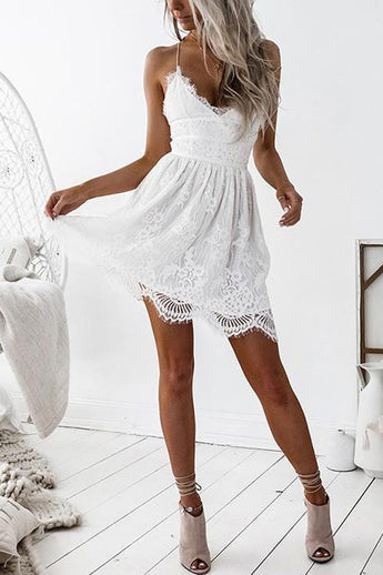 Sexy Open Back White Lace Homecoming Dresses Short Spaghetti Straps Prom Graduation Dress LD1451